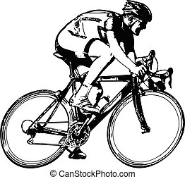 croquis, course, cycliste