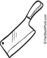 croquis, -, couteau boucher, icône