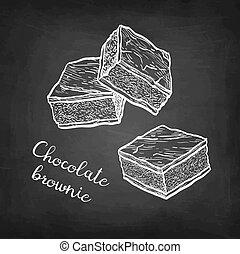 croquis, craie, brownie., chocolat
