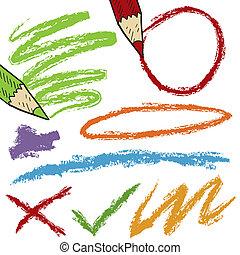 croquis, crayon, coloré