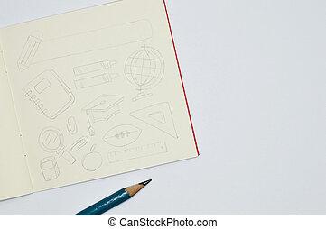 croquis, crayon, eduquer articles, cahier, fond, blanc