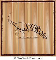 croquis, crevette, vecteur, logo, ton, design.
