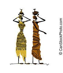 croquis, cruches, main, ethnique, dessiné, femmes