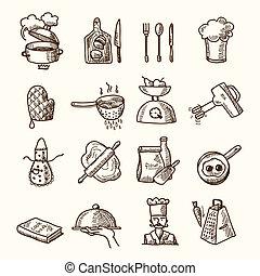 croquis, cuisine, icônes