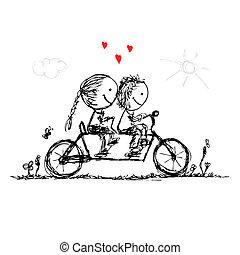 croquis, cyclisme, couple, valentin, conception, ensemble, ton
