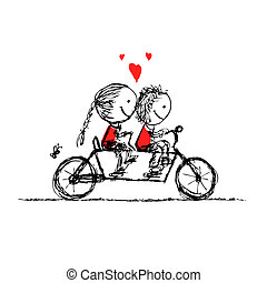croquis, cyclisme, couple, valentin, conception, ensemble, ...