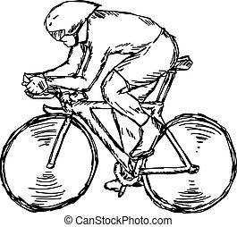 croquis, cyclisme, piste, -, isolé, illustration, main, lignes, vecteur, noir, concurrence, fond, dessiné, blanc