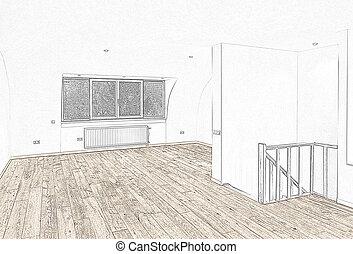 Int rieur croquis outils dessin chambre coucher - Croquis chambre a coucher ...