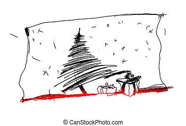 Monochrome croquis arbre fond blanc - Croquis arbre ...