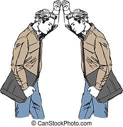 croquis, de, homme, prend, a, regarder, lui-même, dans, les,...