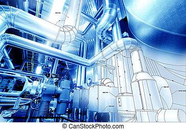 croquis, de, tuyauterie, conception, mélangé, à, équipement industriel, photo