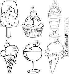 croquis, desserts, différent