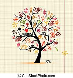 croquis, dessin, automne, arbre, conception, ton