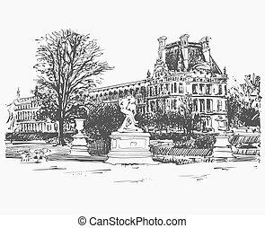 croquis, dessin, de, louvre, endroit célèbre, depuis, paris, france