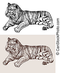 croquis, dessin, noir, tigre, animal, typon, original