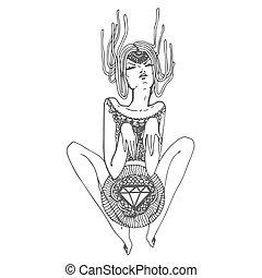croquis, diamant, illustration, main, vecteur, fond, impression, dessiné, girl, blanc