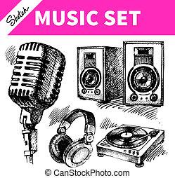 croquis, dj, icônes, set., main, musique, illustrations, dessiné