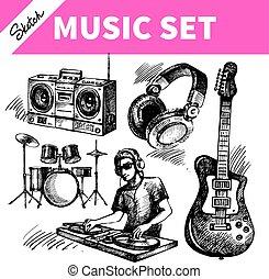 croquis, dj, icônes, set., main, vecteur, musique, illustrations, dessiné