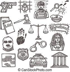 croquis, droit & loi, icône