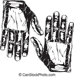 croquis, droit, main., illustration, vecteur, gauche