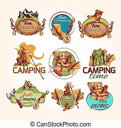 croquis, emblèmes, camping
