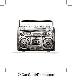 croquis, enregistreur, conception, retro, cassette, ton