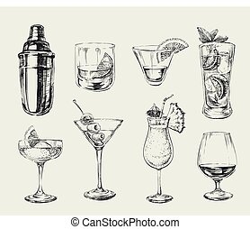 croquis, ensemble, alcool, illustration, main, cocktails, vecteur, dessiné, boissons