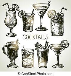 croquis, ensemble, alcoolique, main, cocktails, dessiné