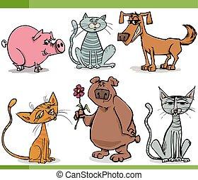 croquis, ensemble, animaux, dessin animé, illustration