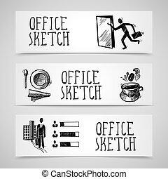 croquis, ensemble, bannière, bureau