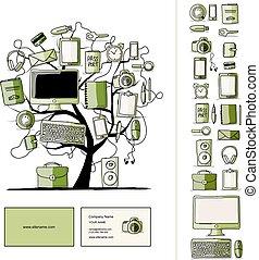 croquis, ensemble, bureau, devices., conception, numérique, ton