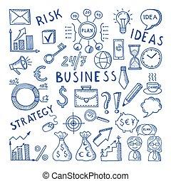 croquis, ensemble, business, griffonnage, theme., créatif, vecteur, illustrations, icône