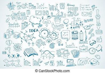 croquis, ensemble, business, isolé, shapes., vecteur, infographics, doodles, :, éléments