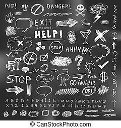 croquis, ensemble, griffonnage, cahier, vecteur, parole, illustration, flèche, bulle
