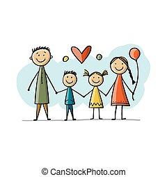 croquis, ensemble, heureux, ton, conception, famille