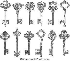 croquis, ensemble, icônes, clés, vendange, isolé, vecteur