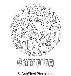 croquis, ensemble, illustration., camping, icons., main, symboles, équipement, vecteur, dessiné