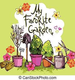 croquis, ensemble, jardin