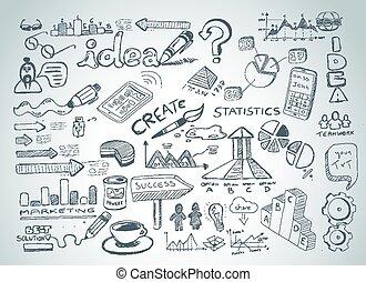 croquis, ensemble, média, social, isolé, éléments, infographics, doodles