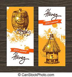 croquis, ensemble, main, miel,  illustrations, dessiné, bannières