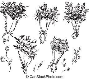 croquis, ensemble, main, vecteur, dessiné, bouquets