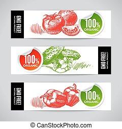 croquis, ensemble, main, vegetable., dessiné, bannières