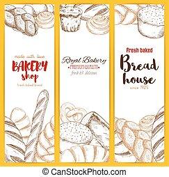 croquis, ensemble, maison, boulangerie, vecteur, bannières, ou, pain