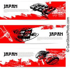croquis, ensemble, sushi, japonaise, banners., illustrations