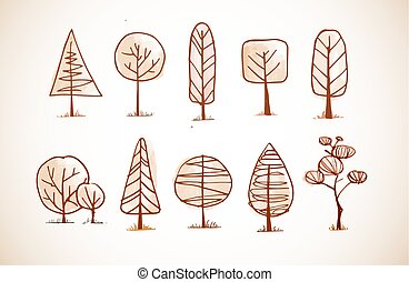 croquis, ensemble, vendange, style, arbres, griffonnage