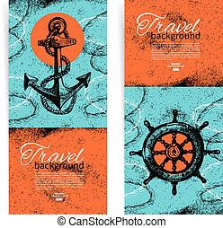 croquis, ensemble, vendange, voyage, main, banners., mer, nautique, illustrations, dessiné, design.