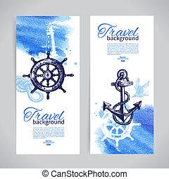 croquis, ensemble, voyage, main, aquarelle, banners., mer, nautique, illustrations, dessiné, design.