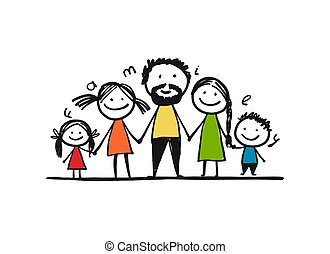croquis, famille, conception, ensemble, ton, heureux