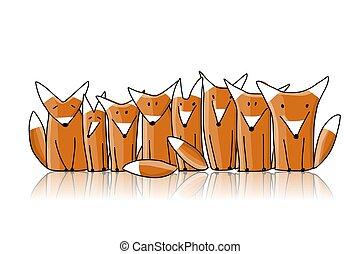 croquis, famille, conception, ton, renards