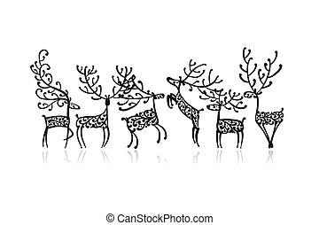croquis, famille, deers, conception, orné, ton